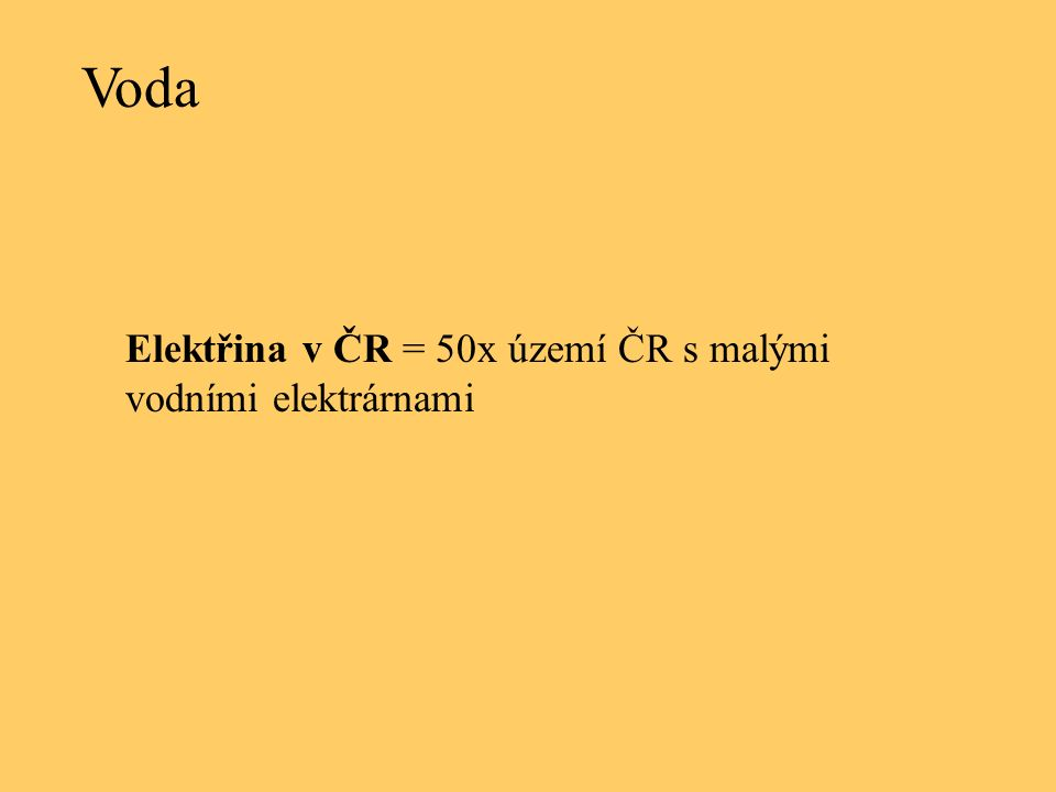Voda Elektřina v ČR = 50x území ČR s malými vodními elektrárnami