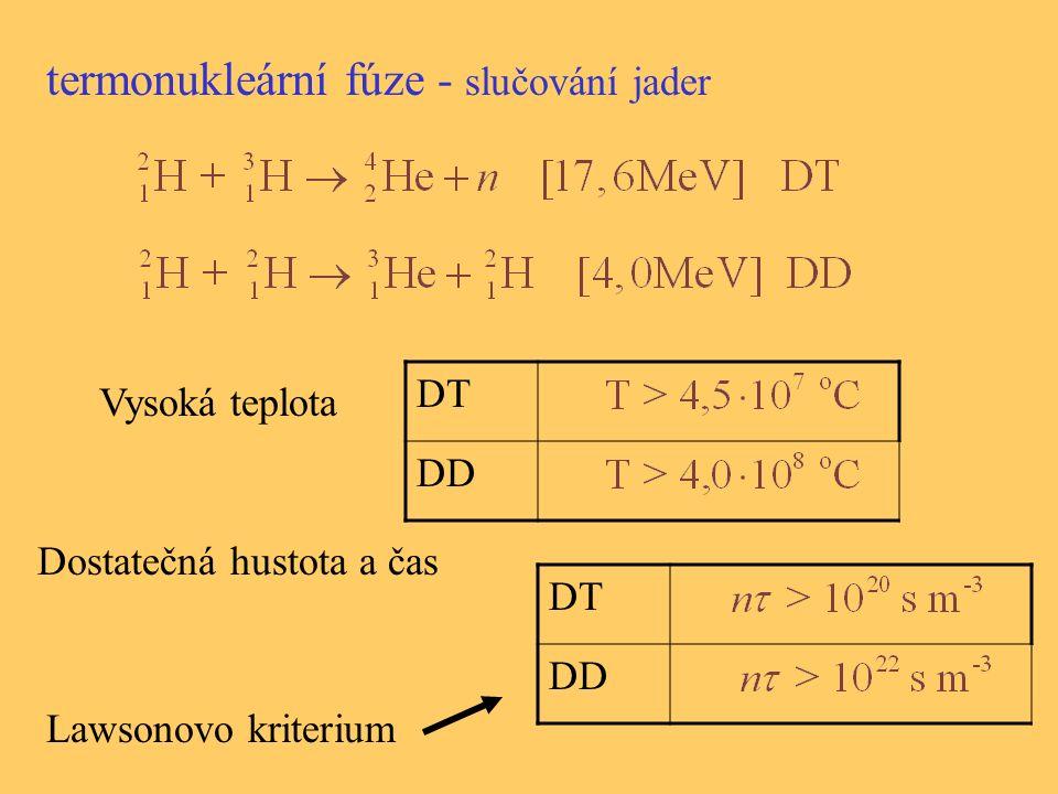 termonukleární fúze - slučování jader Vysoká teplota Dostatečná hustota a čas DT DD DT DD Lawsonovo kriterium