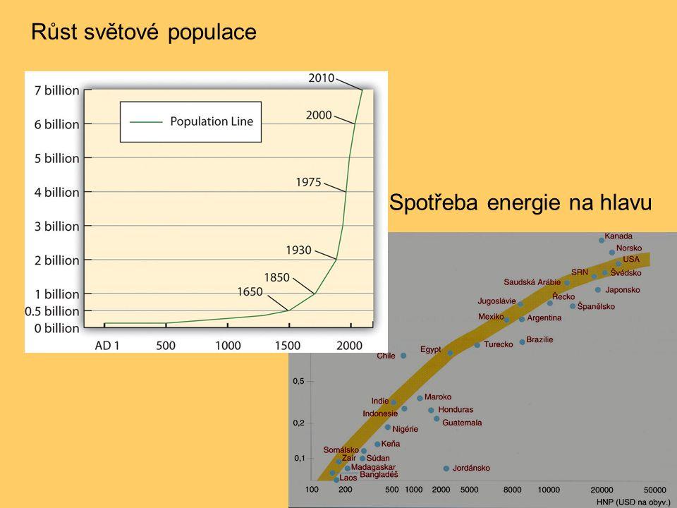 Růst světové populace Spotřeba energie na hlavu