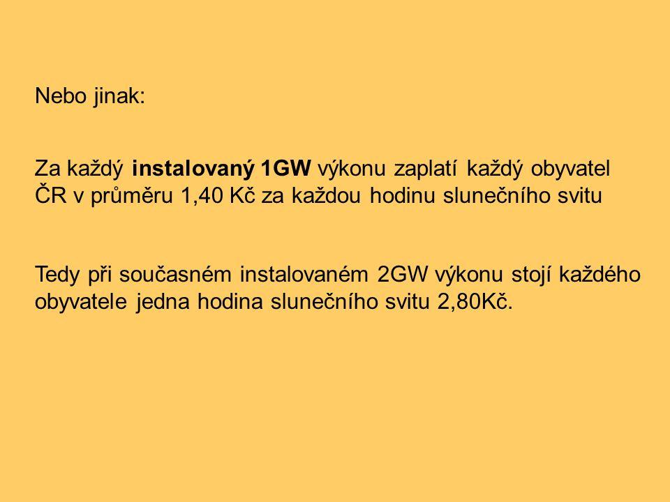 Nebo jinak: Za každý instalovaný 1GW výkonu zaplatí každý obyvatel ČR v průměru 1,40 Kč za každou hodinu slunečního svitu Tedy při současném instalova