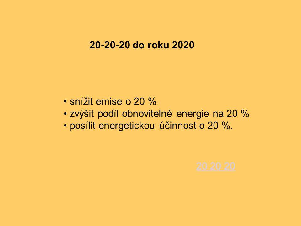 20-20-20 do roku 2020 snížit emise o 20 % zvýšit podíl obnovitelné energie na 20 % posílit energetickou účinnost o 20 %. 20 20 20