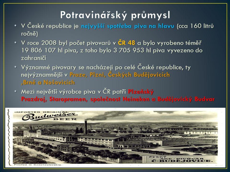 V České republice je nejvyšší spotřeba piva na hlavu (cca 160 litrů ročně) V České republice je nejvyšší spotřeba piva na hlavu (cca 160 litrů ročně) V roce 2008 byl počet pivovarů v ČR 48 a bylo vyrobeno téměř 19 806 107 hl piva, z toho bylo 3 705 953 hl piva vyvezeno do zahraničí V roce 2008 byl počet pivovarů v ČR 48 a bylo vyrobeno téměř 19 806 107 hl piva, z toho bylo 3 705 953 hl piva vyvezeno do zahraničí Významné pivovary se nacházejí po celé České republice, ty nejvýznamnější v Praze, Plzni, Českých Budějovicích,Brně a Nošovicích Významné pivovary se nacházejí po celé České republice, ty nejvýznamnější v Praze, Plzni, Českých Budějovicích,Brně a Nošovicích Mezi největší výrobce piva v ČR patří Plzeňský Prazdroj, Staropramen, společnost Heineken a Budějovický Budvar Mezi největší výrobce piva v ČR patří Plzeňský Prazdroj, Staropramen, společnost Heineken a Budějovický Budvar