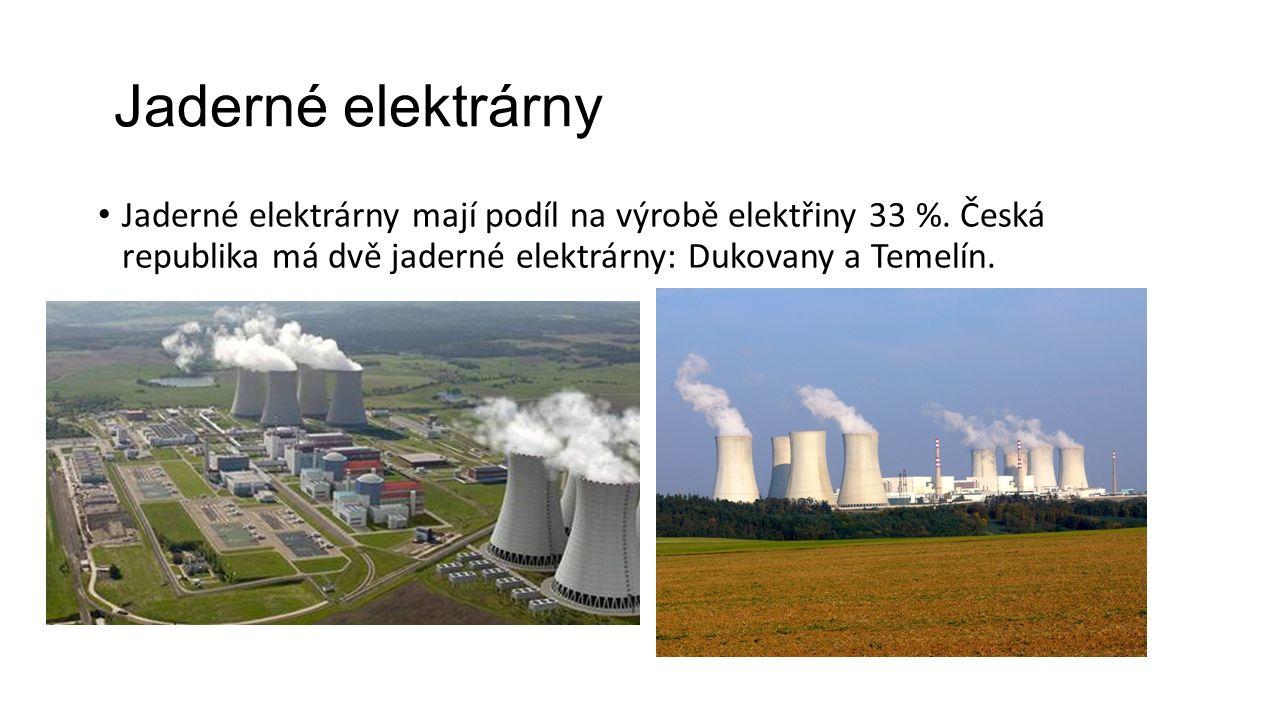 Jaderné elektrárny Jaderné elektrárny mají podíl na výrobě elektřiny 33 %. Česká republika má dvě jaderné elektrárny: Dukovany a Temelín.