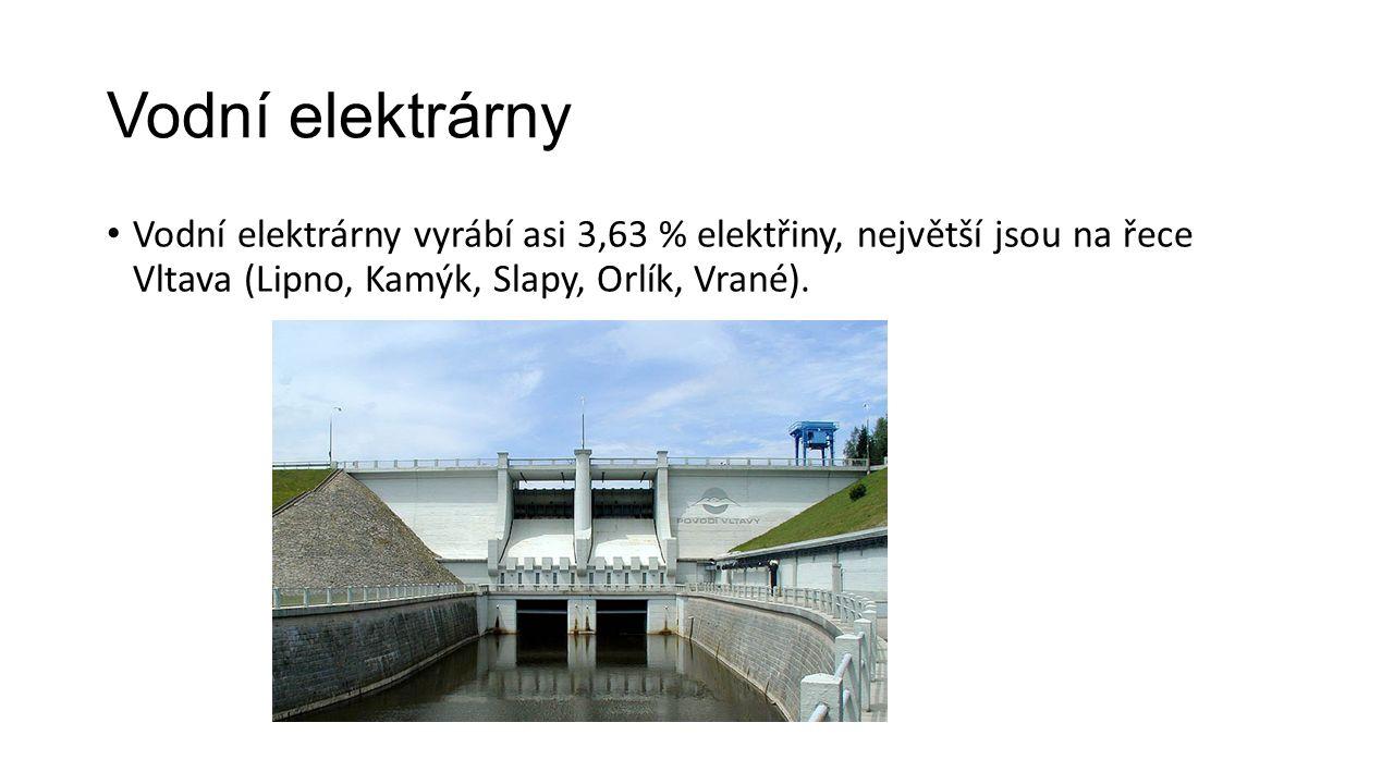 Vodní elektrárny Vodní elektrárny vyrábí asi 3,63 % elektřiny, největší jsou na řece Vltava (Lipno, Kamýk, Slapy, Orlík, Vrané).