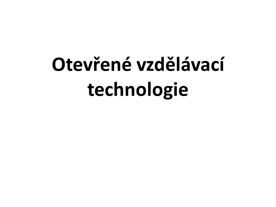 Otevřené vzdělávací technologie