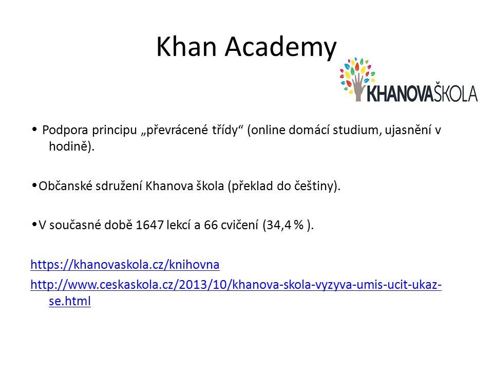 """Khan Academy Podpora principu """"převrácené třídy (online domácí studium, ujasnění v hodině)."""