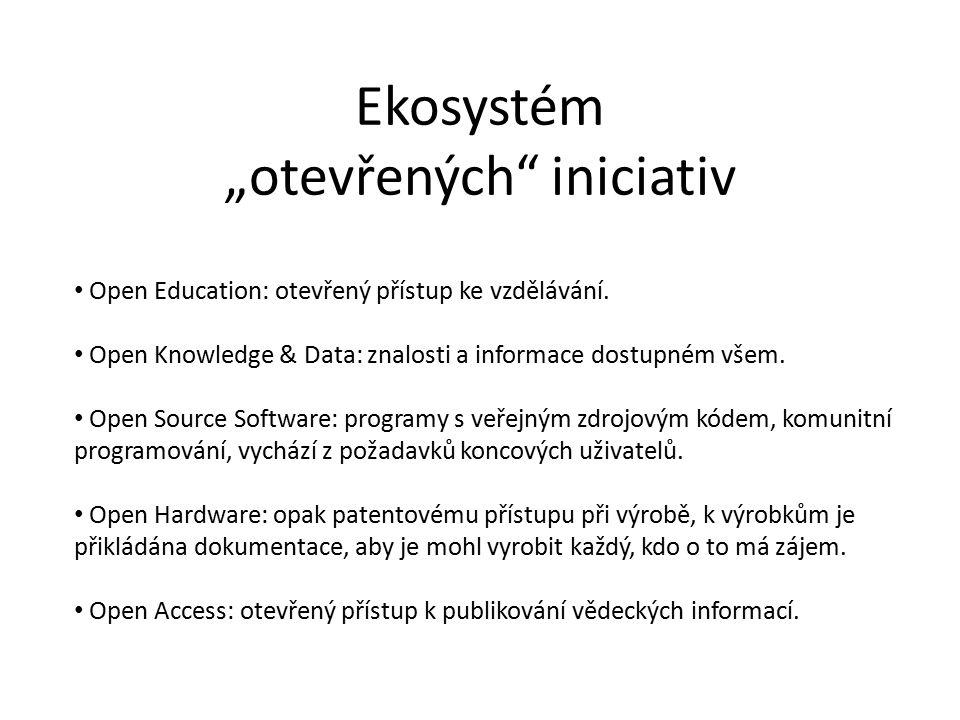 """Ekosystém """"otevřených iniciativ Open Education: otevřený přístup ke vzdělávání."""