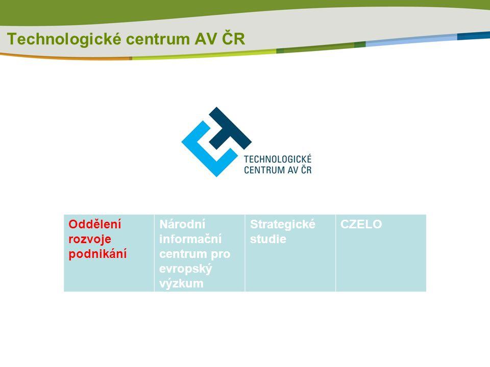 Technologické centrum AV ČR Oddělení rozvoje podnikání Národní informační centrum pro evropský výzkum Strategické studie CZELO