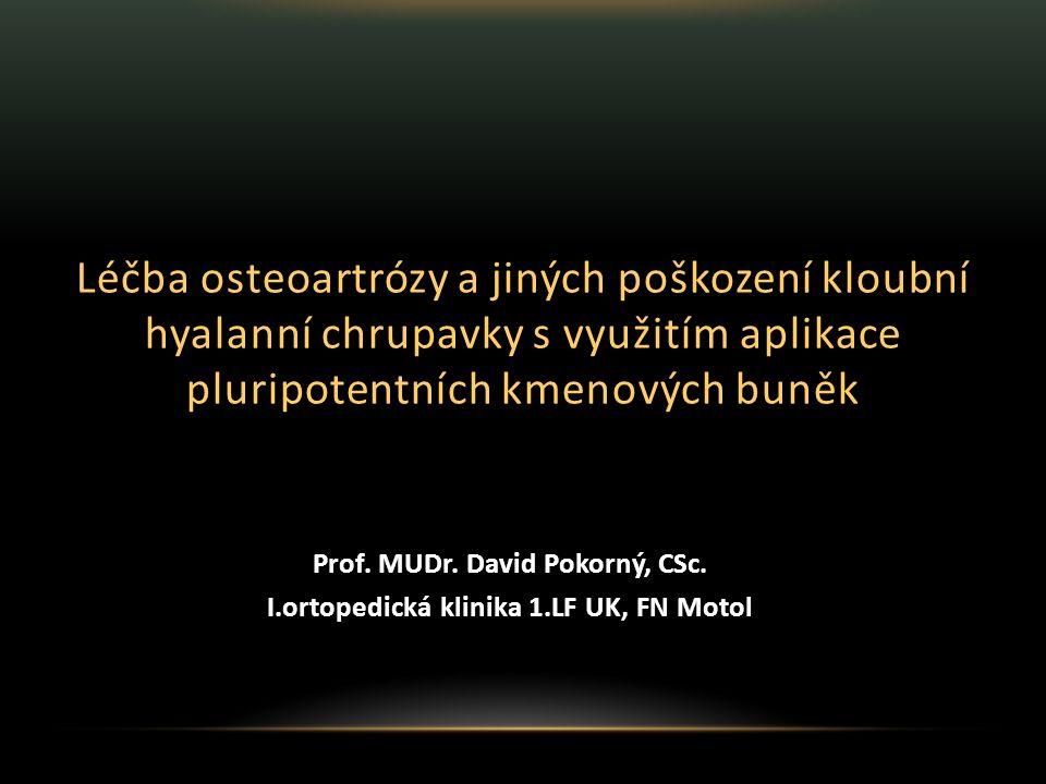 Prof. MUDr. David Pokorný, CSc. I.ortopedická klinika 1.LF UK, FN Motol Léčba osteoartrózy a jiných poškození kloubní hyalanní chrupavky s využitím ap