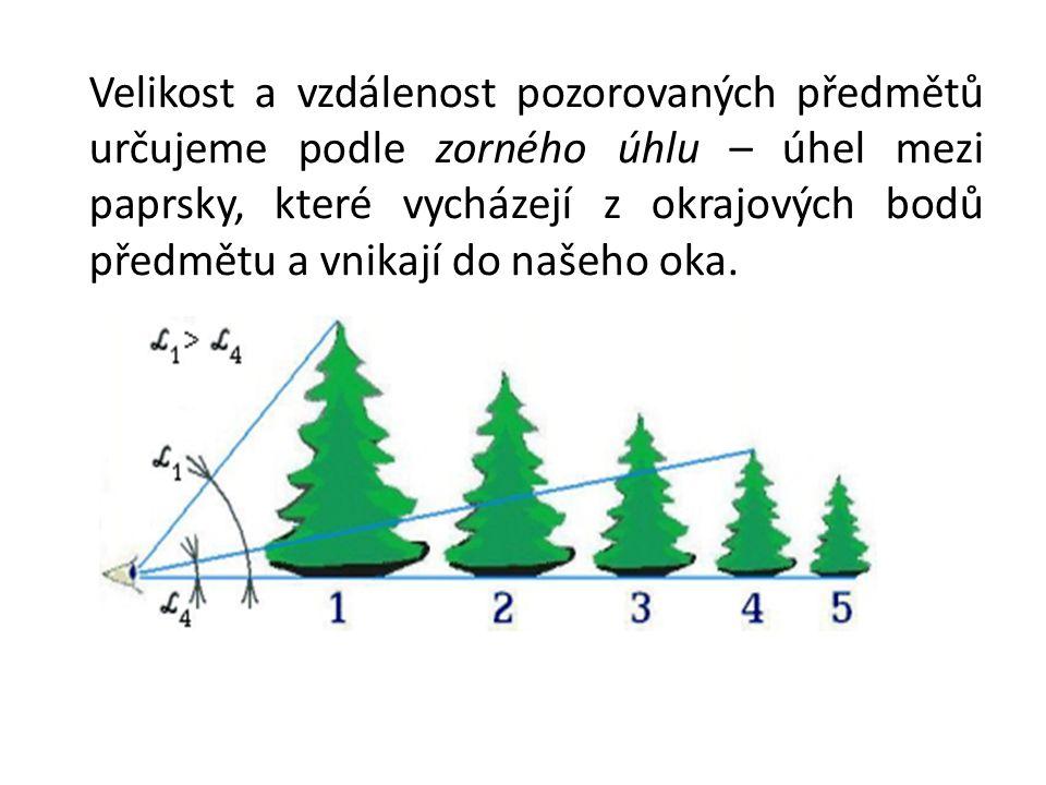 Velikost a vzdálenost pozorovaných předmětů určujeme podle zorného úhlu – úhel mezi paprsky, které vycházejí z okrajových bodů předmětu a vnikají do n