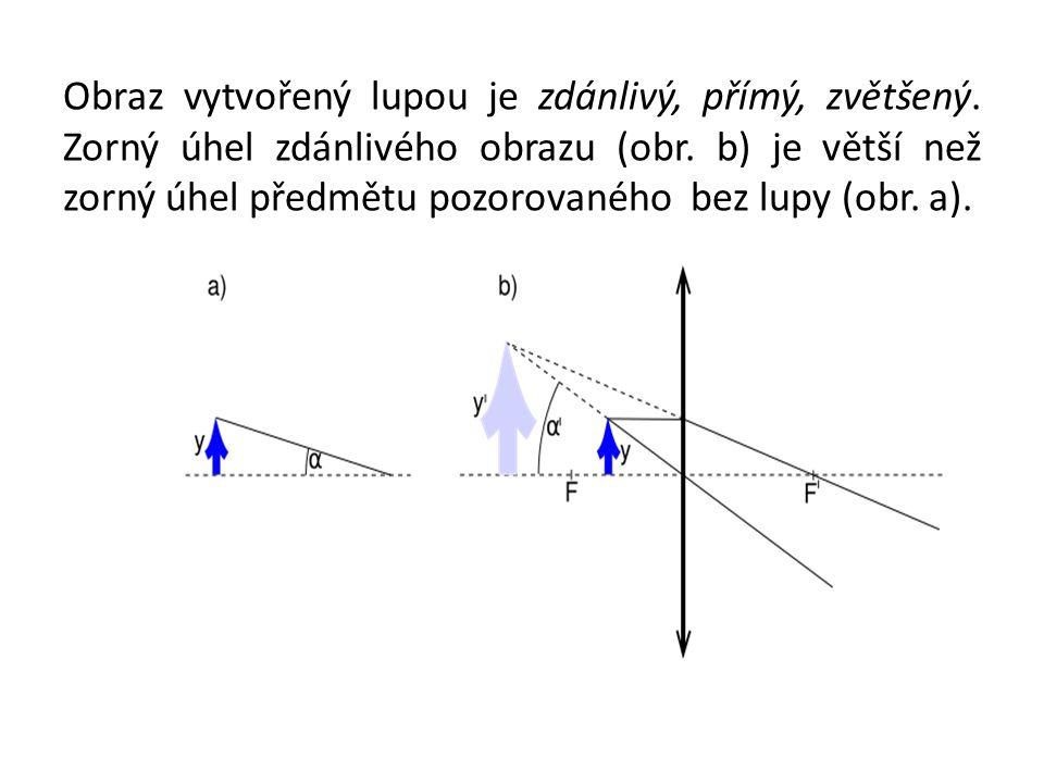 Obraz vytvořený lupou je zdánlivý, přímý, zvětšený. Zorný úhel zdánlivého obrazu (obr. b) je větší než zorný úhel předmětu pozorovaného bez lupy (obr.