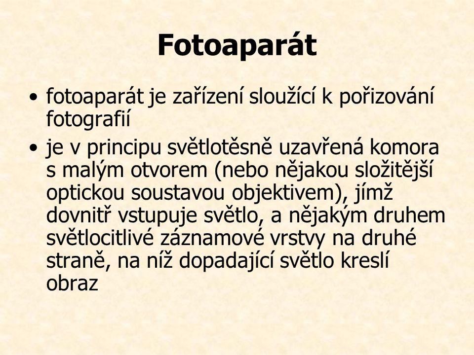 Fotoaparát fotoaparát je zařízení sloužící k pořizování fotografií je v principu světlotěsně uzavřená komora s malým otvorem (nebo nějakou složitější optickou soustavou objektivem), jímž dovnitř vstupuje světlo, a nějakým druhem světlocitlivé záznamové vrstvy na druhé straně, na níž dopadající světlo kreslí obraz