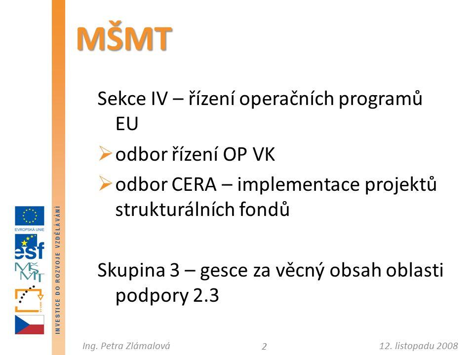 12. listopadu 2008Ing. Petra Zlámalová I N V E S T I C E D O R O Z V O J E V Z D Ě L Á V Á N Í MŠMT Sekce IV – řízení operačních programů EU  odbor ř