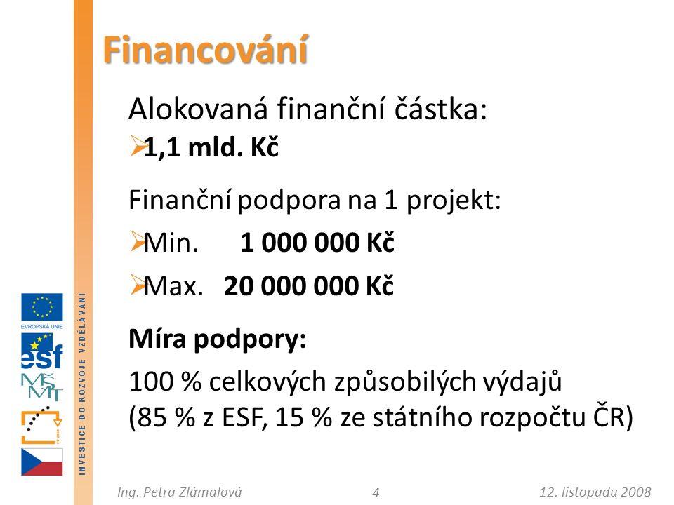 12. listopadu 2008Ing. Petra Zlámalová I N V E S T I C E D O R O Z V O J E V Z D Ě L Á V Á N Í Alokovaná finanční částka:  1,1 mld. Kč Finanční podpo