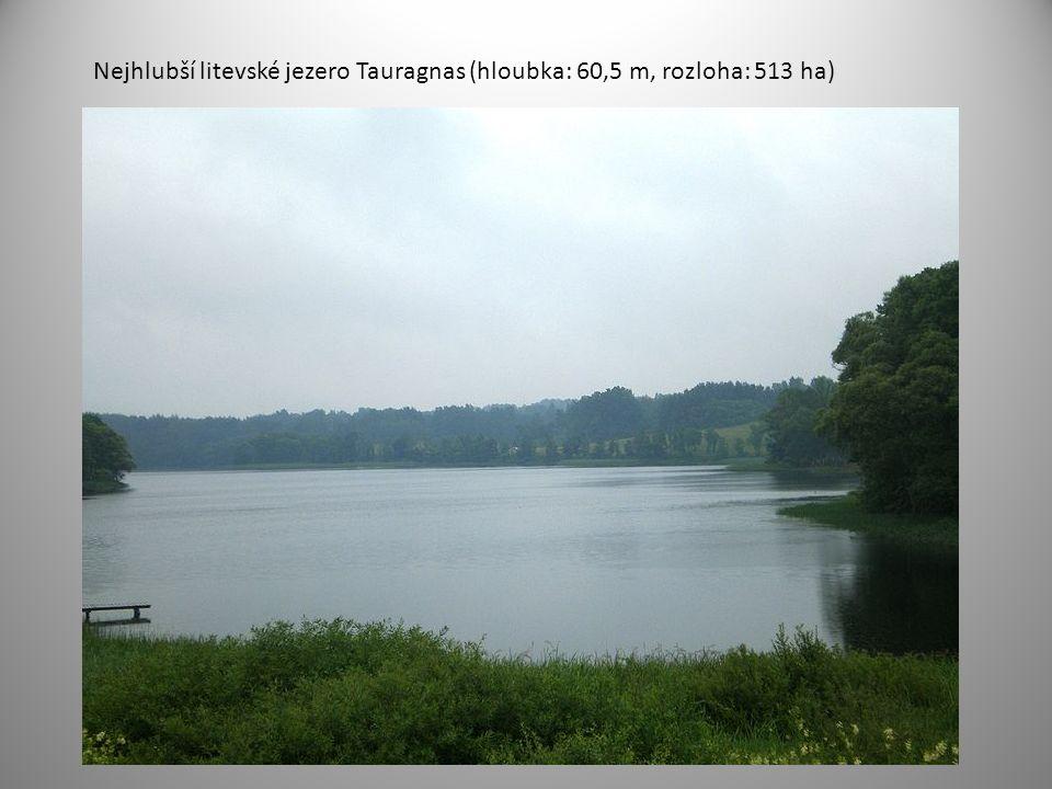 Nejhlubší litevské jezero Tauragnas (hloubka: 60,5 m, rozloha: 513 ha)