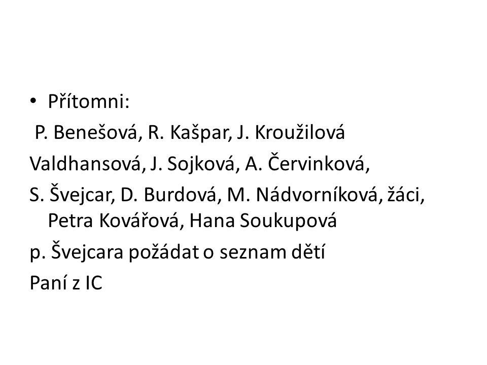 Přítomni: P. Benešová, R. Kašpar, J. Kroužilová Valdhansová, J.