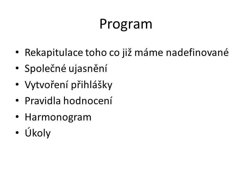 Program Rekapitulace toho co již máme nadefinované Společné ujasnění Vytvoření přihlášky Pravidla hodnocení Harmonogram Úkoly