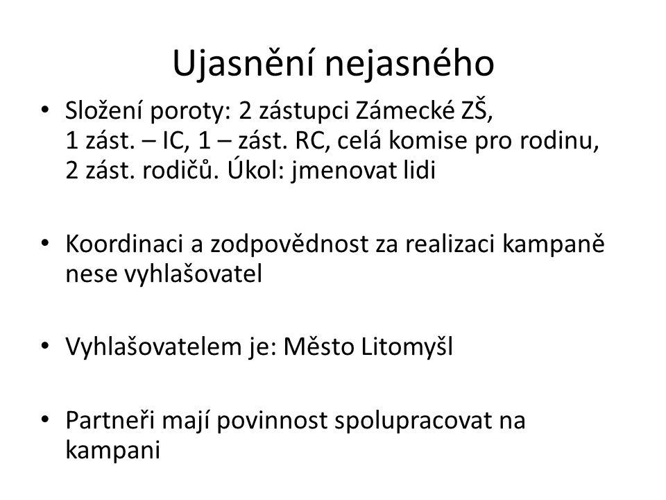 Ujasnění nejasného Složení poroty: 2 zástupci Zámecké ZŠ, 1 zást.