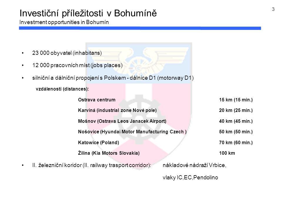 3 Investiční příležitosti v Bohumíně Investment opportunities in Bohumín 23 000 obyvatel (inhabitans) 12 000 pracovních míst (jobs places) silniční a dálniční propojení s Polskem - dálnice D1 (motorway D1) vzdálenosti (distances): Ostrava centrum 15 km (15 min.) Karviná (industrial zone Nové pole)20 km (25 min.) Mošnov (Ostrava Leos Janacek Airport) 40 km (45 min.) Nošovice (Hyundai Motor Manufacturing Czech ) 50 km (50 min.) Katowice (Poland) 70 km (60 min.) Žilina (Kia Motors Slovakia) 100 km II.