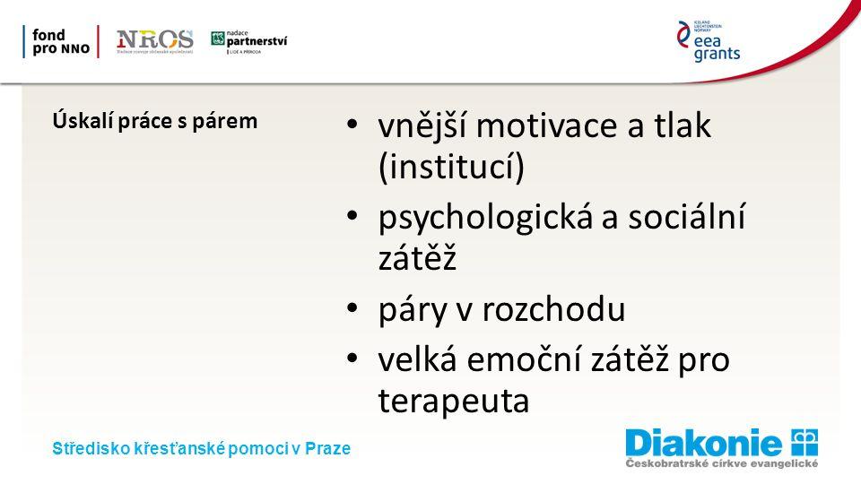 Středisko křesťanské pomoci v Praze Úskalí práce s párem vnější motivace a tlak (institucí) psychologická a sociální zátěž páry v rozchodu velká emoční zátěž pro terapeuta