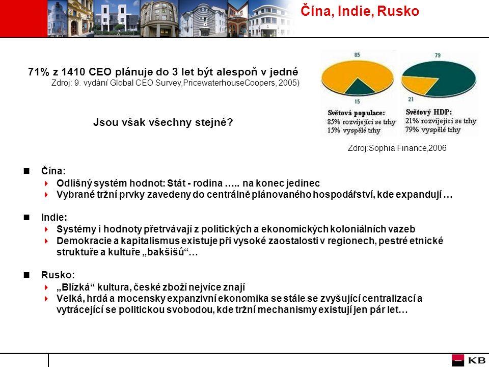 Čína, Indie, Rusko Čína:  Odlišný systém hodnot: Stát - rodina …..