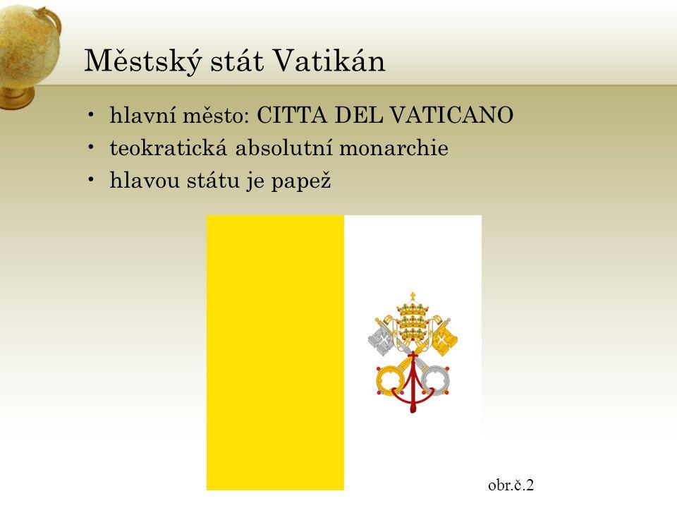 Městský stát Vatikán hlavní město: CITTA DEL VATICANO teokratická absolutní monarchie hlavou státu je papež obr.č.2