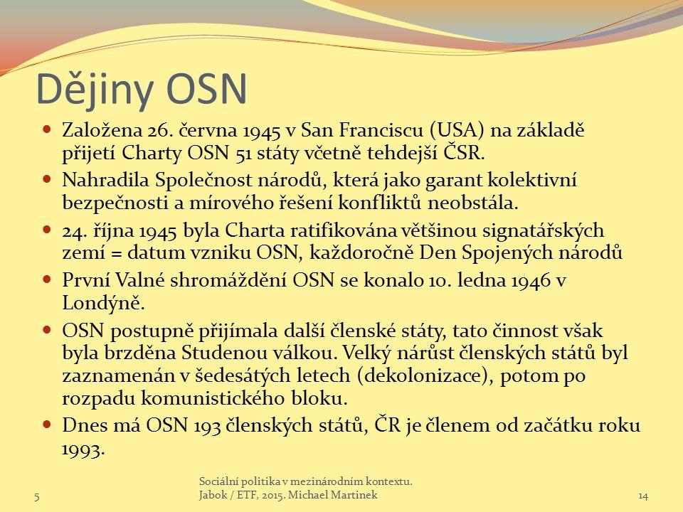 Dějiny OSN Založena 26.