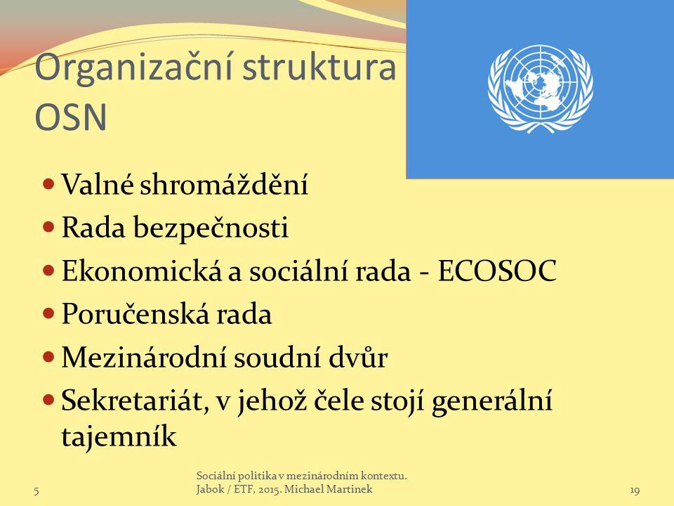 Organizační struktura OSN Valné shromáždění Rada bezpečnosti Ekonomická a sociální rada - ECOSOC Poručenská rada Mezinárodní soudní dvůr Sekretariát, v jehož čele stojí generální tajemník 5 Sociální politika v mezinárodním kontextu.