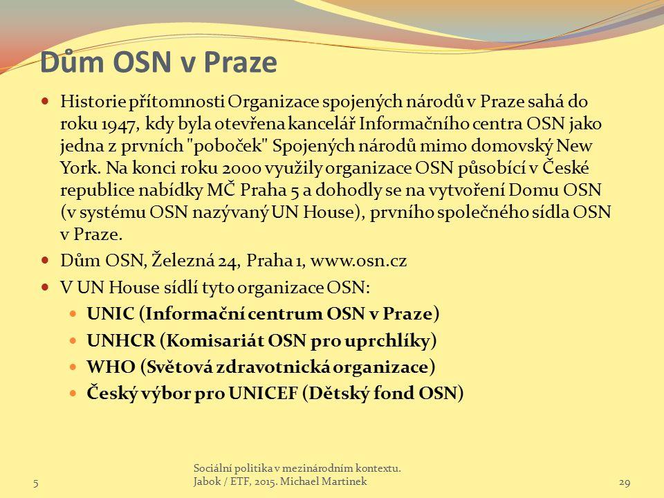 Dům OSN v Praze Historie přítomnosti Organizace spojených národů v Praze sahá do roku 1947, kdy byla otevřena kancelář Informačního centra OSN jako jedna z prvních poboček Spojených národů mimo domovský New York.