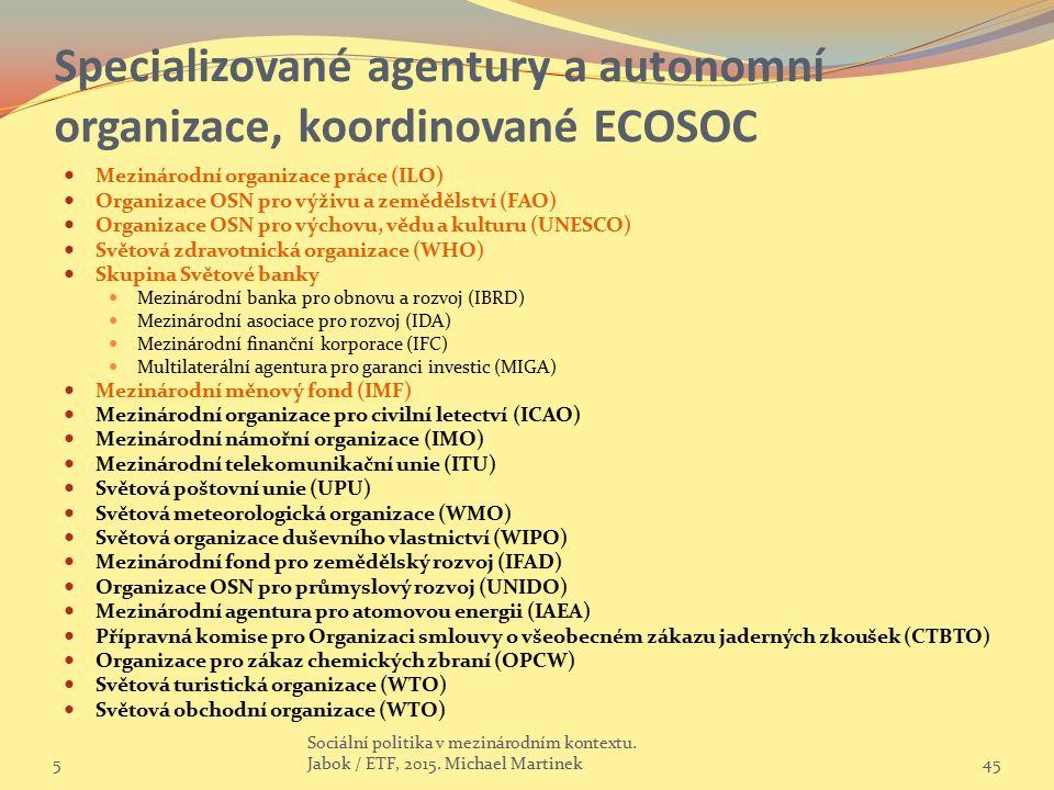 Specializované agentury a autonomní organizace, koordinované ECOSOC Mezinárodní organizace práce (ILO) Organizace OSN pro výživu a zemědělství (FAO) Organizace OSN pro výchovu, vědu a kulturu (UNESCO) Světová zdravotnická organizace (WHO) Skupina Světové banky Mezinárodní banka pro obnovu a rozvoj (IBRD) Mezinárodní asociace pro rozvoj (IDA) Mezinárodní finanční korporace (IFC) Multilaterální agentura pro garanci investic (MIGA) Mezinárodní měnový fond (IMF) Mezinárodní organizace pro civilní letectví (ICAO) Mezinárodní námořní organizace (IMO) Mezinárodní telekomunikační unie (ITU) Světová poštovní unie (UPU) Světová meteorologická organizace (WMO) Světová organizace duševního vlastnictví (WIPO) Mezinárodní fond pro zemědělský rozvoj (IFAD) Organizace OSN pro průmyslový rozvoj (UNIDO) Mezinárodní agentura pro atomovou energii (IAEA) Přípravná komise pro Organizaci smlouvy o všeobecném zákazu jaderných zkoušek (CTBTO) Organizace pro zákaz chemických zbraní (OPCW) Světová turistická organizace (WTO) Světová obchodní organizace (WTO) 5 Sociální politika v mezinárodním kontextu.