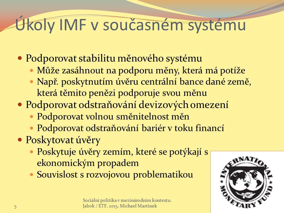 Úkoly IMF v současném systému Podporovat stabilitu měnového systému Může zasáhnout na podporu měny, která má potíže Např.
