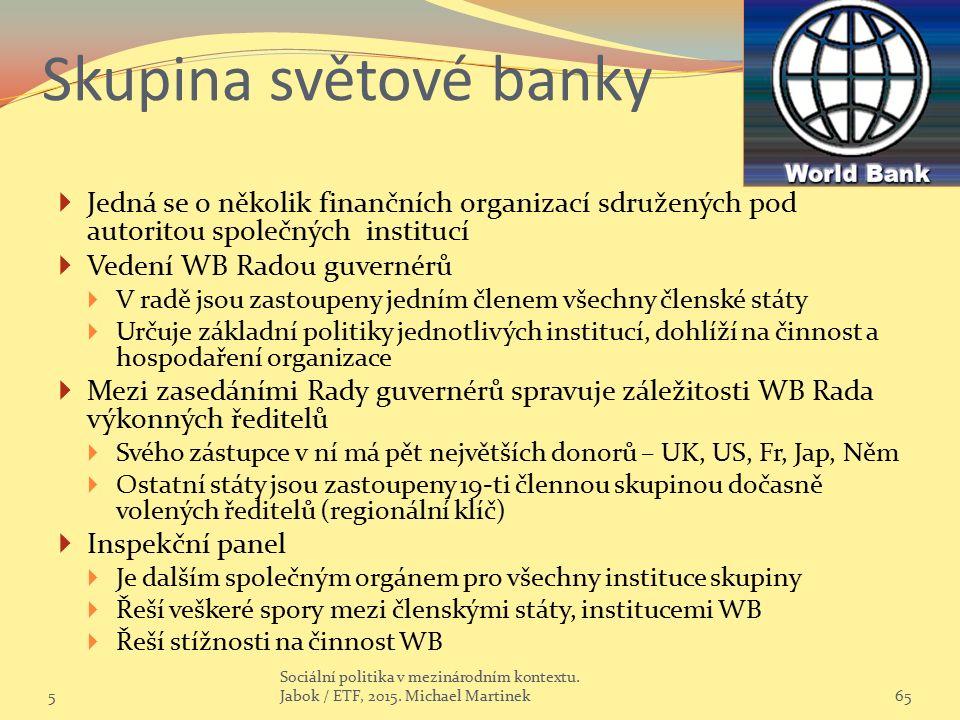 Skupina světové banky  Jedná se o několik finančních organizací sdružených pod autoritou společných institucí  Vedení WB Radou guvernérů  V radě jsou zastoupeny jedním členem všechny členské státy  Určuje základní politiky jednotlivých institucí, dohlíží na činnost a hospodaření organizace  Mezi zasedáními Rady guvernérů spravuje záležitosti WB Rada výkonných ředitelů  Svého zástupce v ní má pět největších donorů – UK, US, Fr, Jap, Něm  Ostatní státy jsou zastoupeny 19-ti člennou skupinou dočasně volených ředitelů (regionální klíč)  Inspekční panel  Je dalším společným orgánem pro všechny instituce skupiny  Řeší veškeré spory mezi členskými státy, institucemi WB  Řeší stížnosti na činnost WB 565 Sociální politika v mezinárodním kontextu.