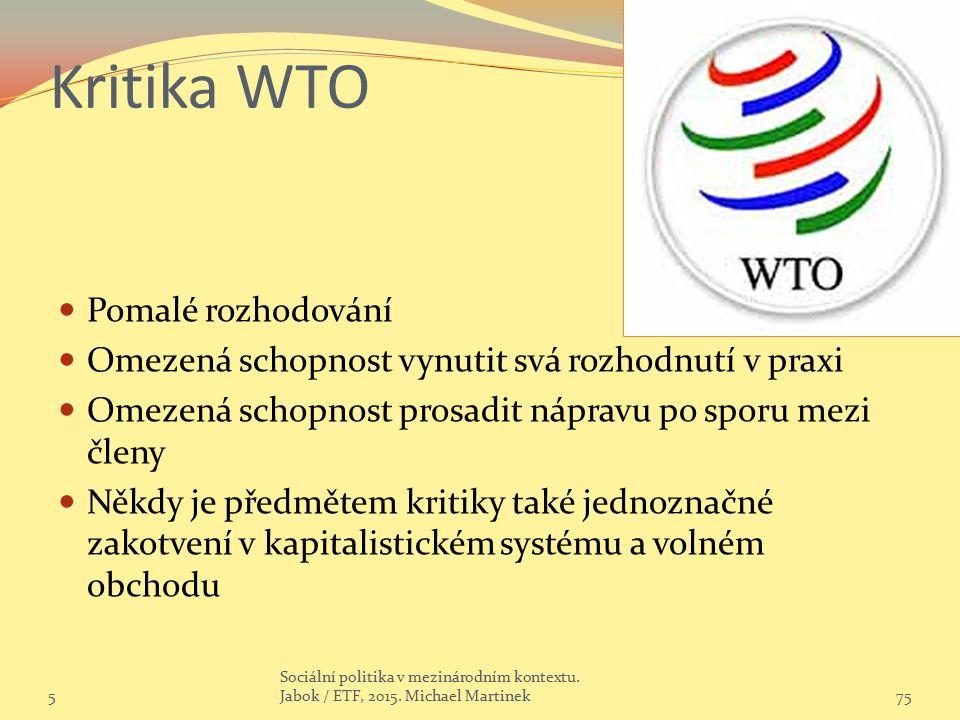 Kritika WTO Pomalé rozhodování Omezená schopnost vynutit svá rozhodnutí v praxi Omezená schopnost prosadit nápravu po sporu mezi členy Někdy je předmětem kritiky také jednoznačné zakotvení v kapitalistickém systému a volném obchodu 575 Sociální politika v mezinárodním kontextu.