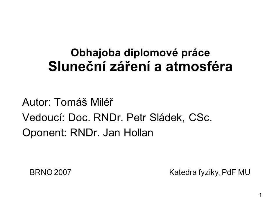 1 Obhajoba diplomové práce Sluneční záření a atmosféra Autor: Tomáš Miléř Vedoucí: Doc.