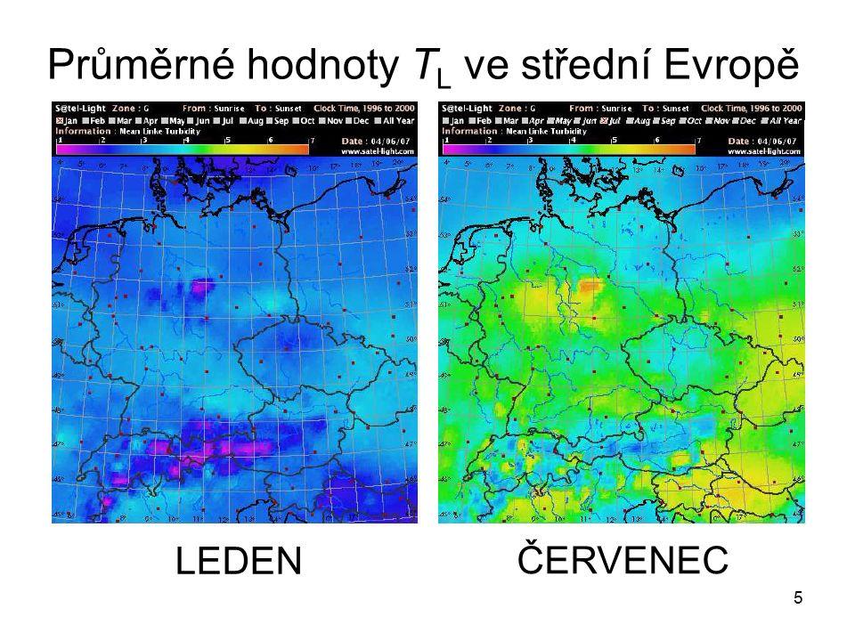 5 LEDEN ČERVENEC Průměrné hodnoty T L ve střední Evropě