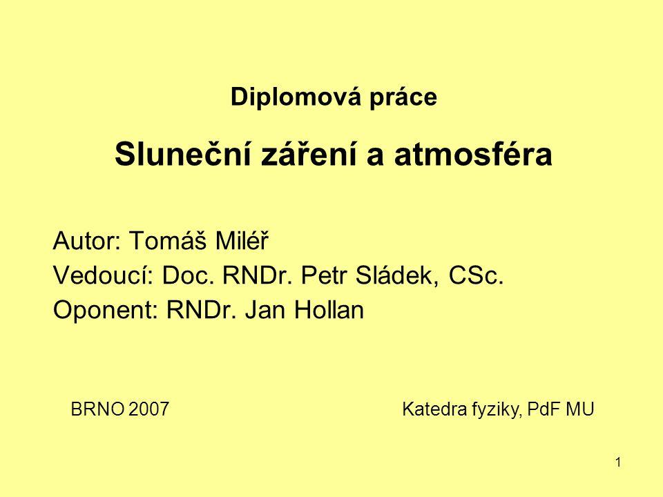 1 Diplomová práce Sluneční záření a atmosféra Autor: Tomáš Miléř Vedoucí: Doc.