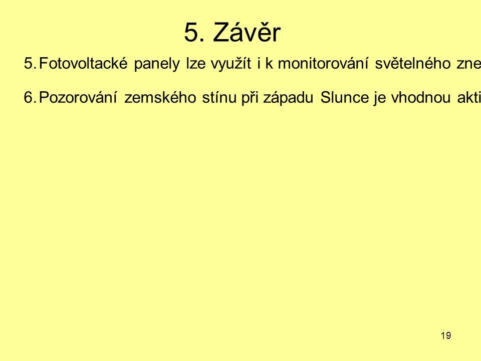 19 5. Závěr 5.Fotovoltacké panely lze využít i k monitorování světelného znečištění.