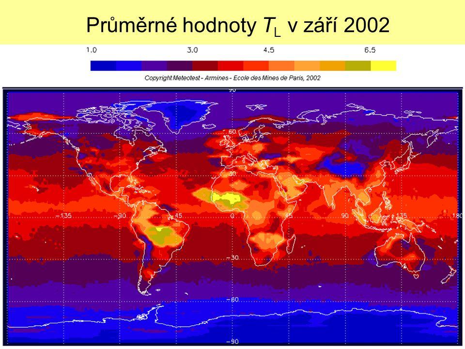 7 Průměrné hodnoty T L v září 2002