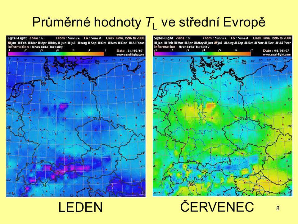 8 LEDEN ČERVENEC Průměrné hodnoty T L ve střední Evropě