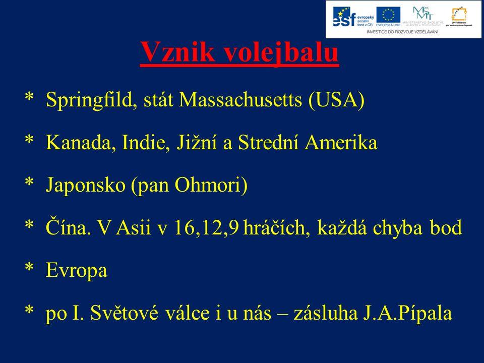 Vznik volejbalu * Springfild, stát Massachusetts (USA) * Kanada, Indie, Jižní a Strední Amerika * Japonsko (pan Ohmori) * Čína.