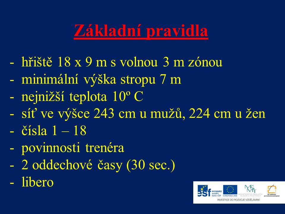 Základní pravidla - hřiště 18 x 9 m s volnou 3 m zónou - minimální výška stropu 7 m - nejnižší teplota 10º C - síť ve výšce 243 cm u mužů, 224 cm u žen - čísla 1 – 18 - povinnosti trenéra - 2 oddechové časy (30 sec.) - libero