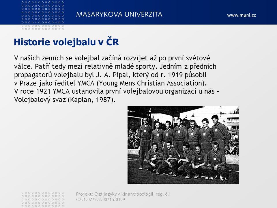 Historie volejbalu v ČR V našich zemích se volejbal začíná rozvíjet až po první světové válce.