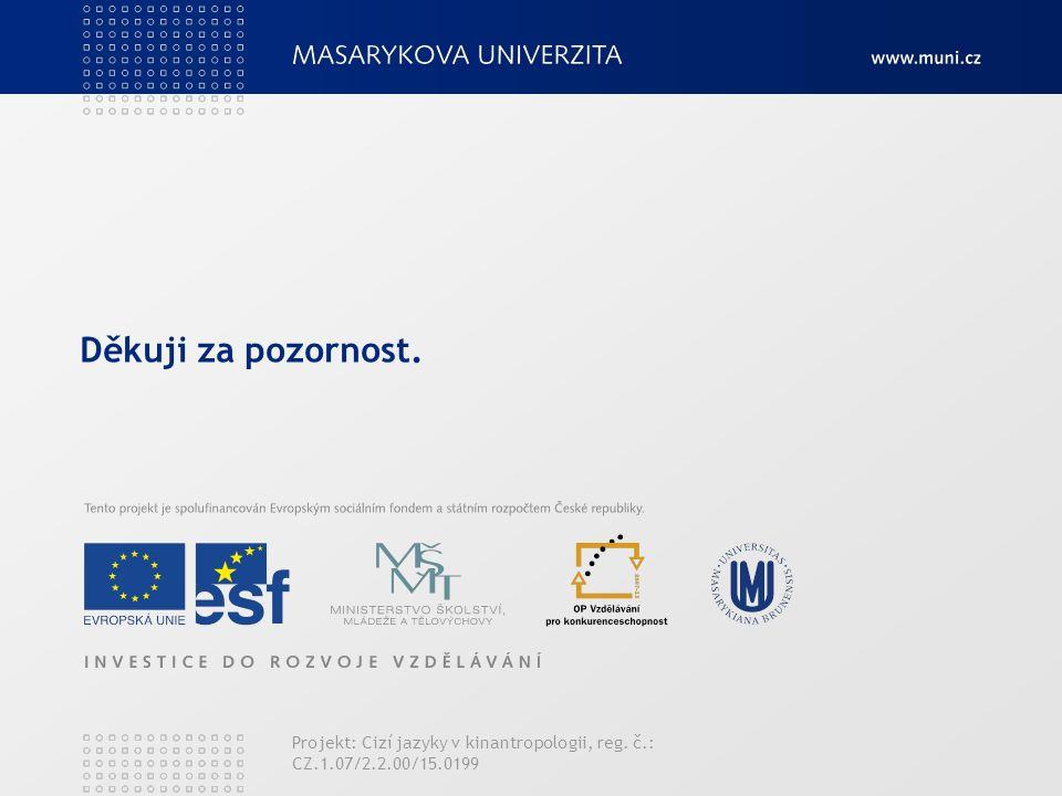 Děkuji za pozornost. Projekt: Cizí jazyky v kinantropologii, reg. č.: CZ.1.07/2.2.00/15.0199