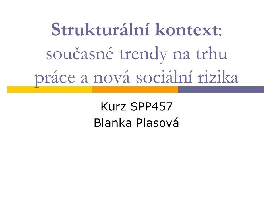 Strukturální kontext: současné trendy na trhu práce a nová sociální rizika Kurz SPP457 Blanka Plasová