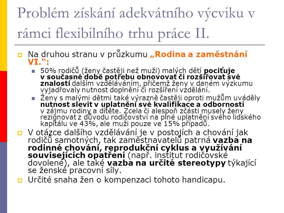 Problém získání adekvátního výcviku v rámci flexibilního trhu práce II.