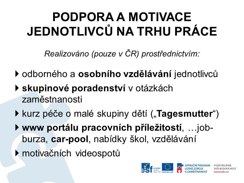 PODPORA A MOTIVACE JEDNOTLIVCŮ NA TRHU PRÁCE Realizováno (pouze v ČR) prostřednictvím:  odborného a osobního vzdělávání jednotlivců  skupinové porad