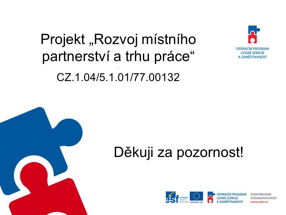 """Projekt """"Rozvoj místního partnerství a trhu práce . CZ.1.04/5.1.01/77.00132 Děkuji za pozornost!"""