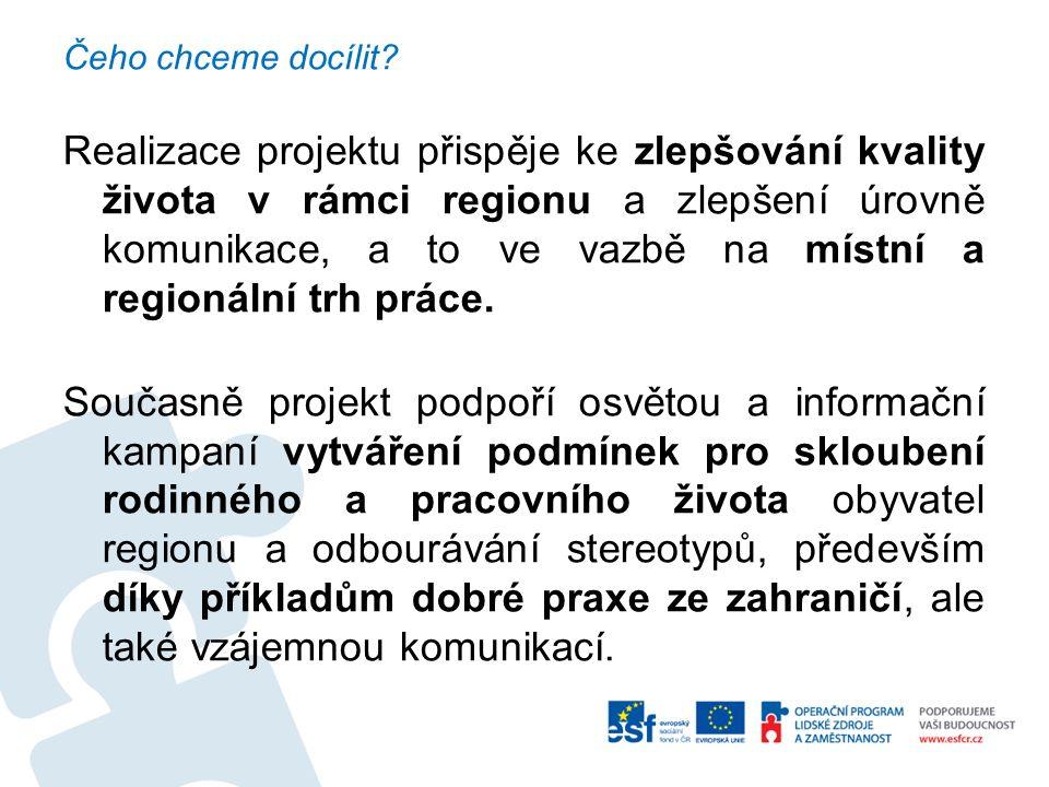 Čeho chceme docílit? Realizace projektu přispěje ke zlepšování kvality života v rámci regionu a zlepšení úrovně komunikace, a to ve vazbě na místní a