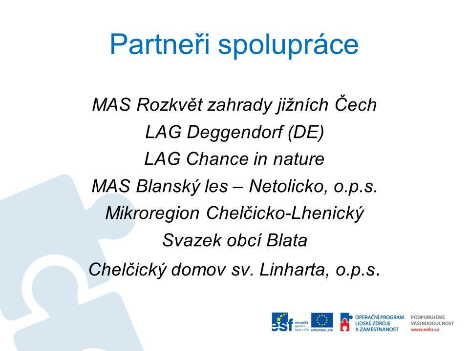 Partneři spolupráce MAS Rozkvět zahrady jižních Čech LAG Deggendorf (DE) LAG Chance in nature MAS Blanský les – Netolicko, o.p.s.
