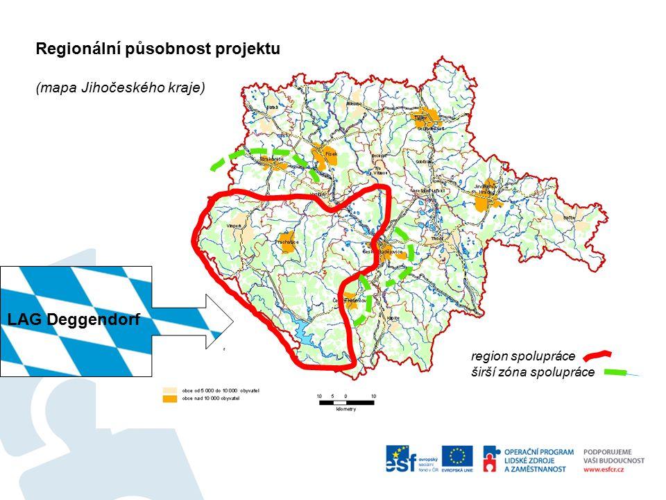 Regionální působnost projektu (mapa Jihočeského kraje) region spolupráce širší zóna spolupráce LAG Deggendorf